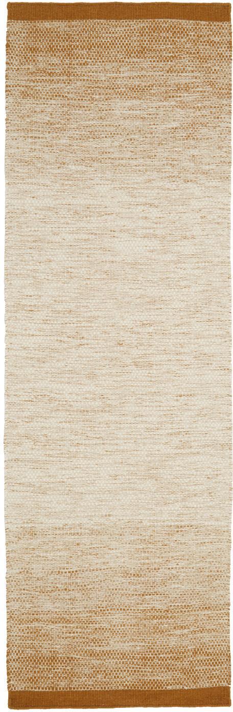 Handgewebter Wollläufer Lule mit Farbverlauf in Beige/Gelb, 70% Wolle, 30% Baumwolle, Ockergelb, Beige, 80 x 250 cm