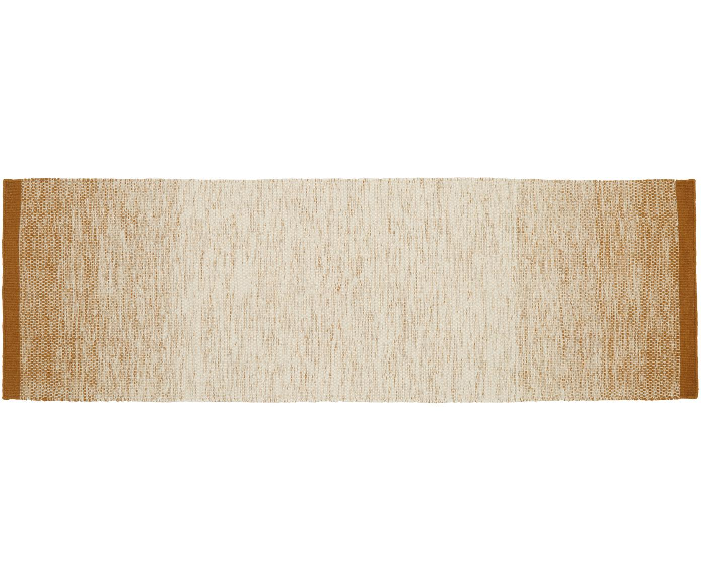Handgeweven wollen loper Lule met kleurverloop in beige/geel, 70% wol, 30% katoen, Okergeel, beige, 80 x 250 cm