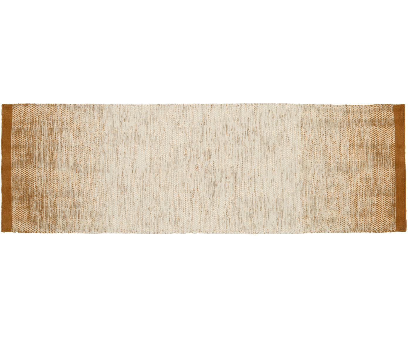 Passatoia in lana tessuta a mano Lule, 70% lana, 30% cotone, Giallo senape, beige, Larg. 80 x Lung. 250 cm