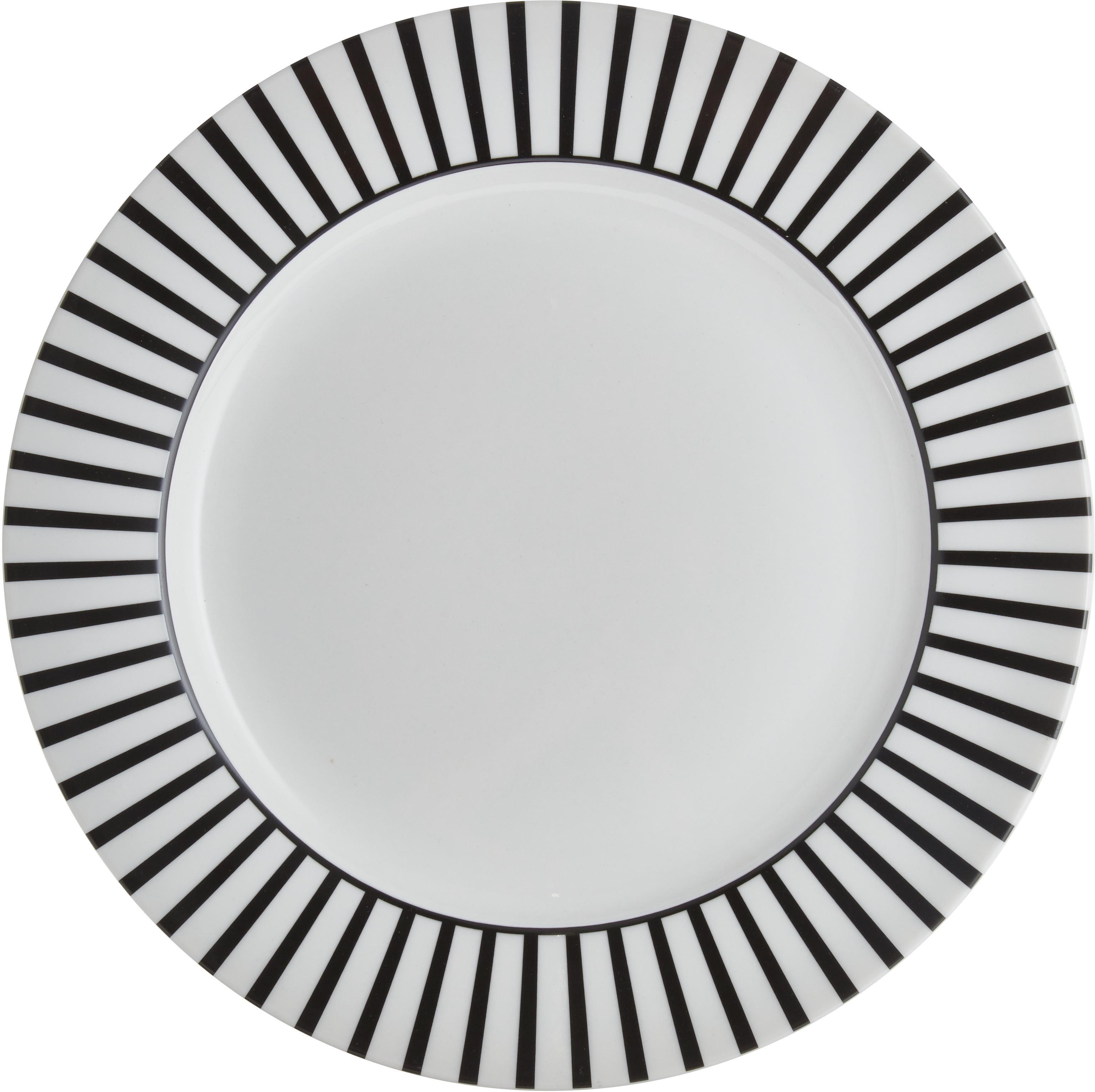 Bajoplatos Ceres Loft, 4uds., Porcelana, Blanco, negro, Ø 30 x Al 2 cm