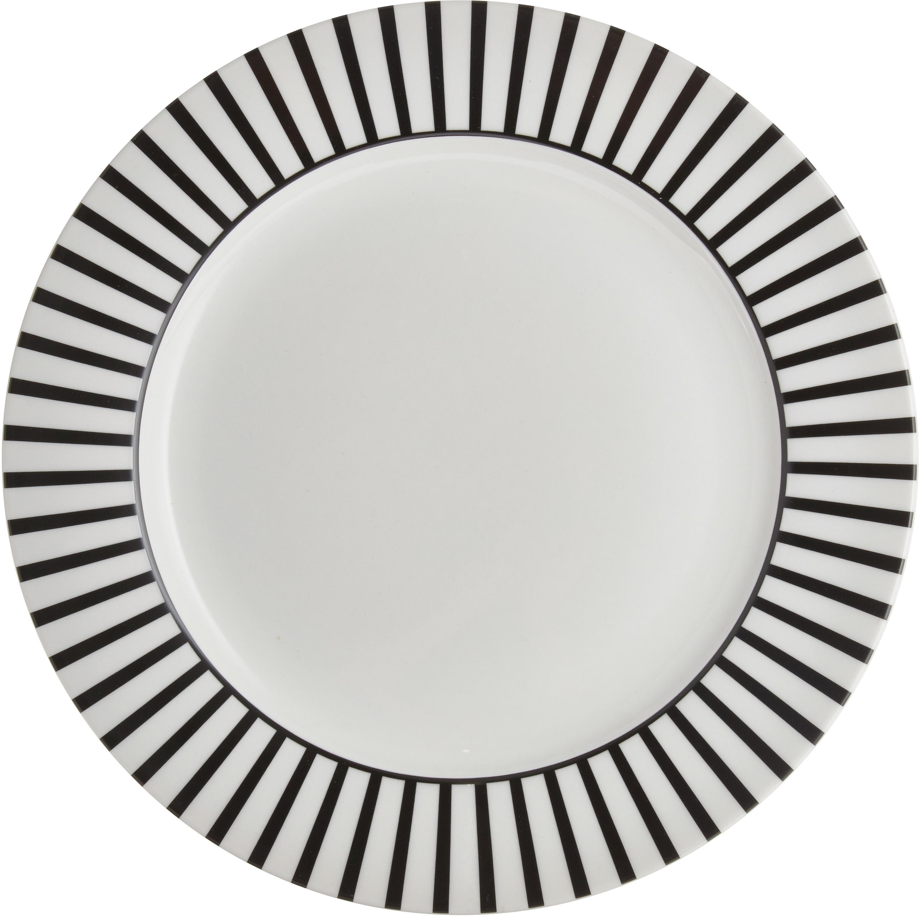 Platzteller Ceres Loft mit Streifendekor in Schwarz/Weiss, 4 Stück, Porzellan, Weiss, Schwarz, Ø 30 x H 2 cm