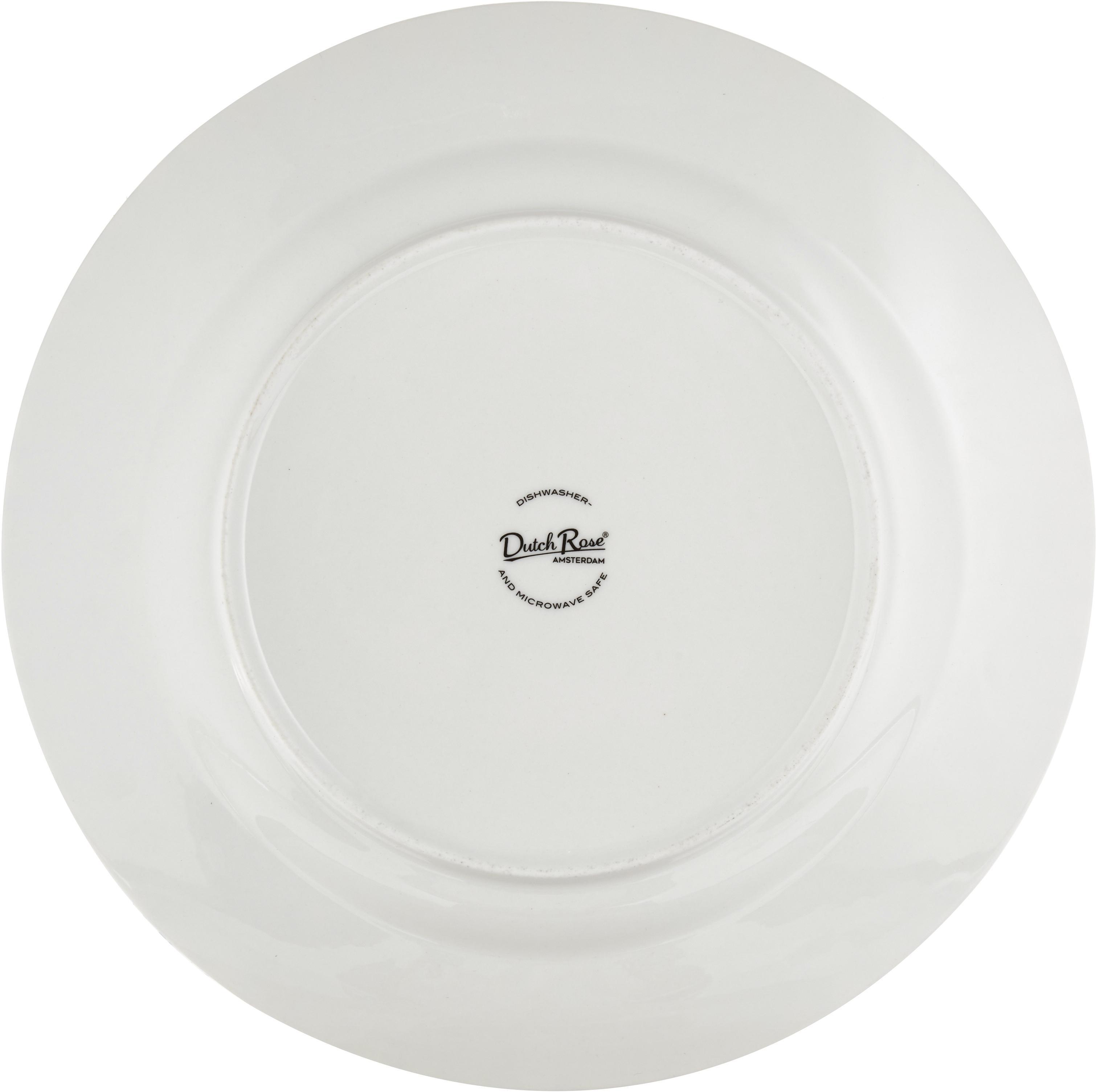 Platzteller Ceres Loft mit Streifendekor in Schwarz/Weiß, 4 Stück, Porzellan, Weiß, Schwarz, Ø 30 x H 2 cm