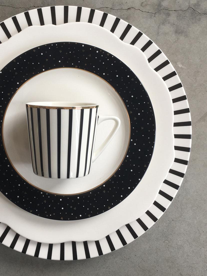 Borden Ceres Loft, 4 stuks, Porselein, Wit, zwart, Ø 30 x H 2 cm