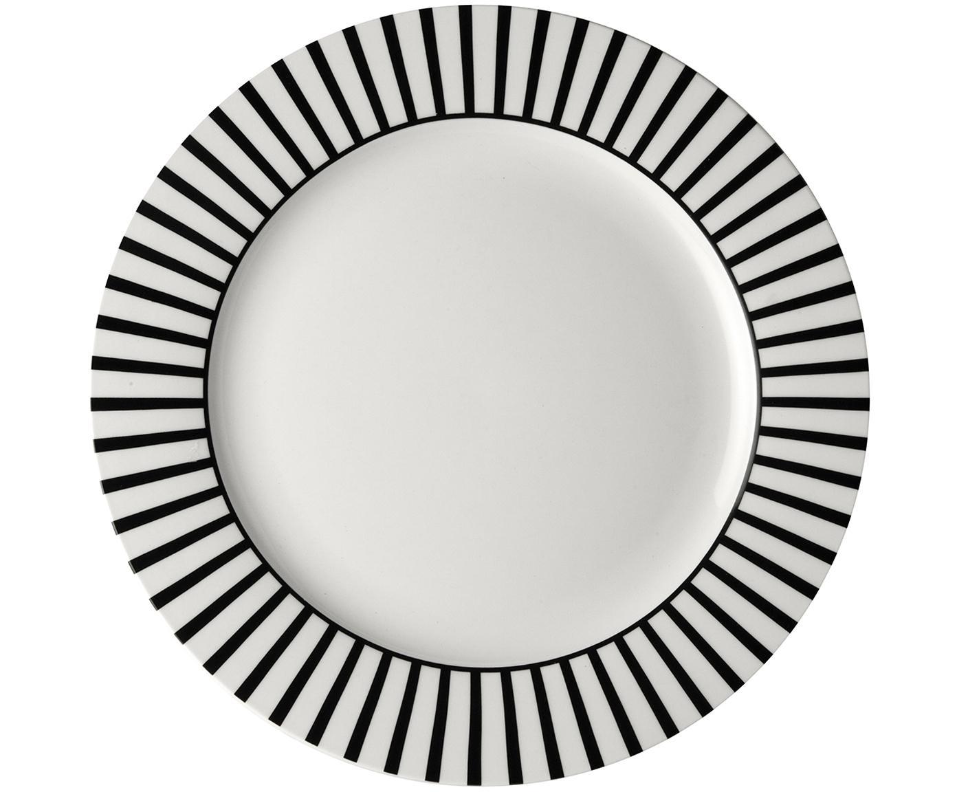 Platzteller Ceres Loft, 4 Stück, Porzellan, Weiß, Schwarz, Ø 30 x H 2 cm