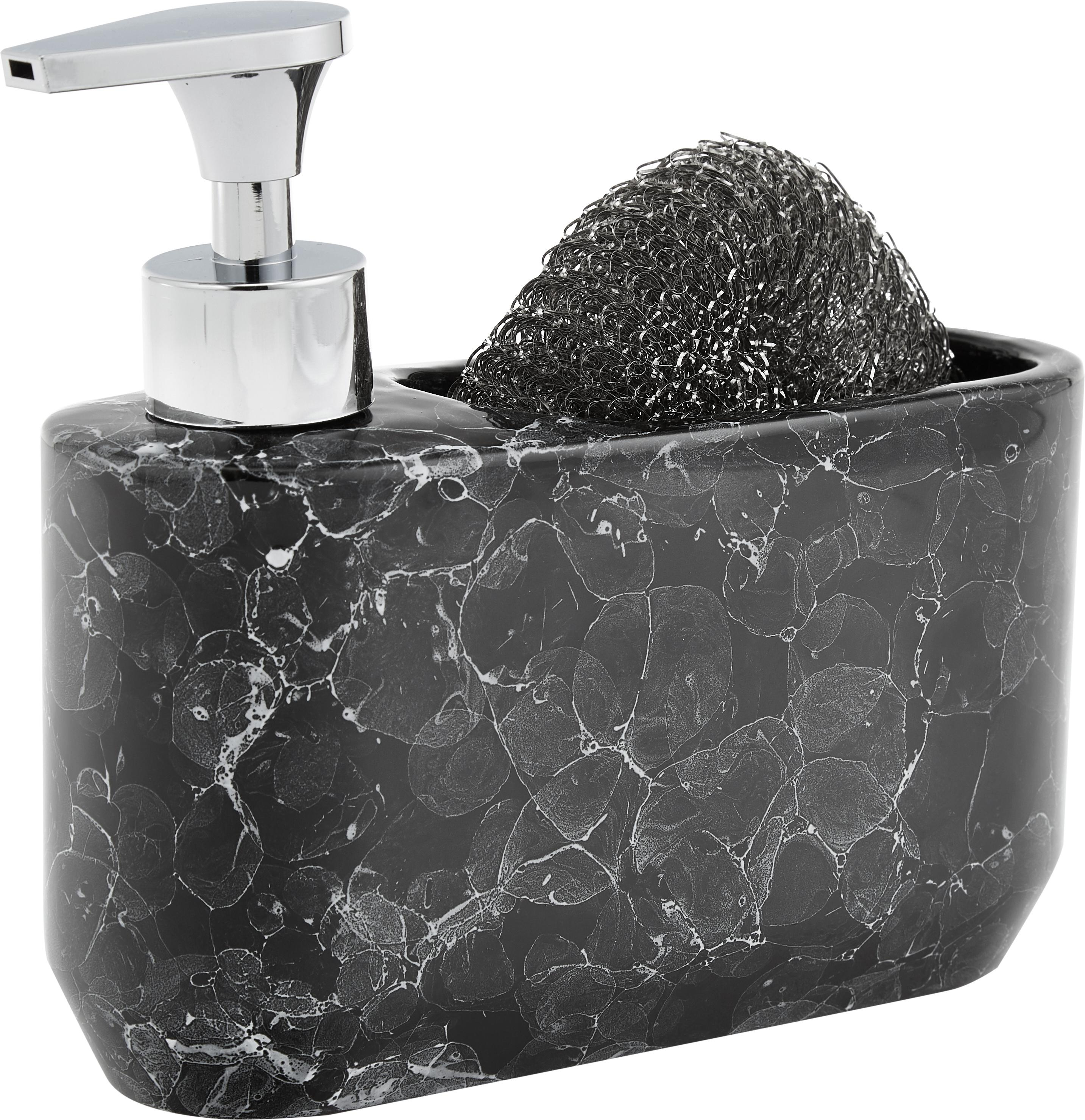 Seifenspender-Set Bubble in Marmor-Optik, 2-tlg., Behälter: Keramik Pumpkopf, Schwarz, Silberfarben, 19 x 16 cm