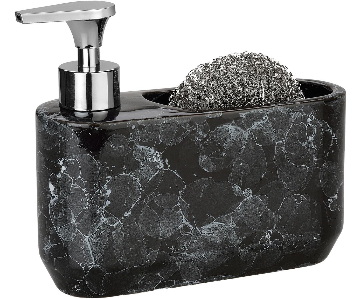 Set dosificador de jabón en aspecto mármol Bubble. 2pzas., Recipiente: cerámica, Dosificador: plástico, Estropajo: metal, Negro, plata, Ancho 19 x Alto 16cm
