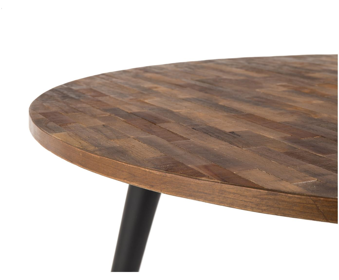 Tavolo da pranzo rotondo Mo con piano in teak, Gambe: acciaio, verniciato e riv, Piano d'appoggio: legno di teak Gambe: nero, Ø 110 x Alt. 76 cm