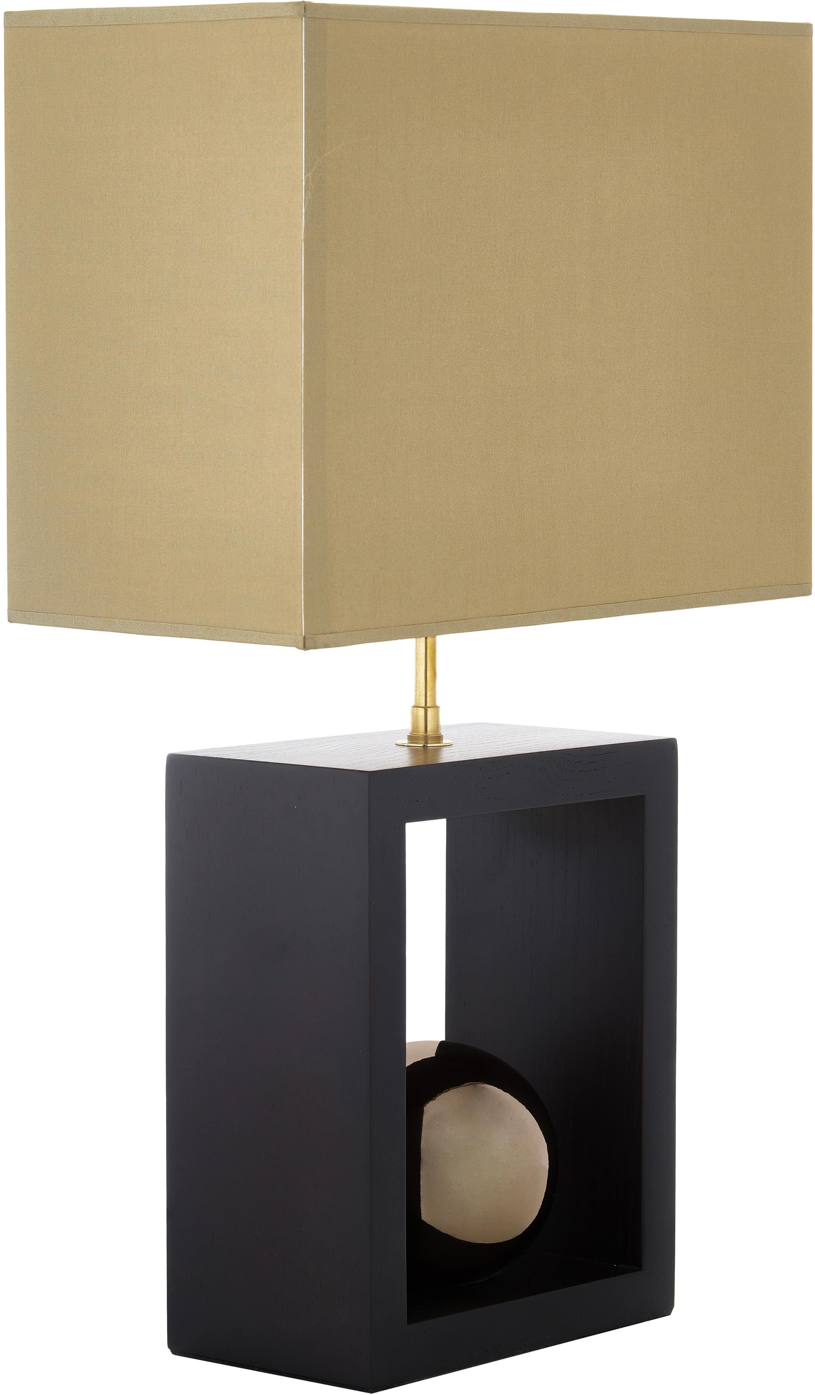 Tischlampe Scala aus Buchenholz, Lampenschirm: Polyester, Lampenfuß: Buchenholz, lackiert, Goldfarben, Braun, 30 x 54 cm