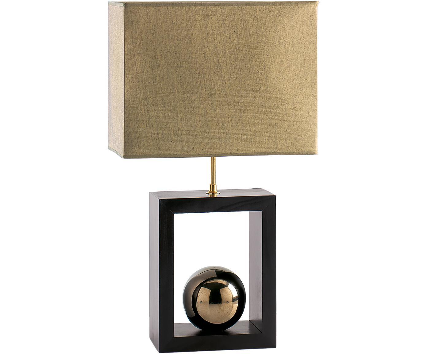 Tafellamp Scala van beukenhout, Lampenkap: polyester, Lampvoet: gelakt beukenhout, Goudkleurig, bruin, 30 x 54 cm