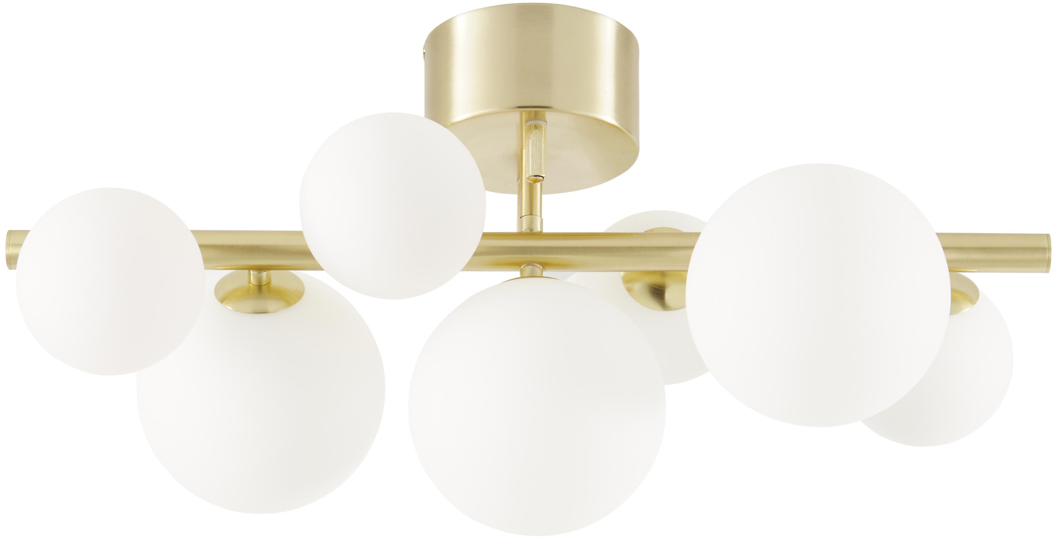 Plafonnier en métal doré Molekyl, Laiton, blanc opalescent