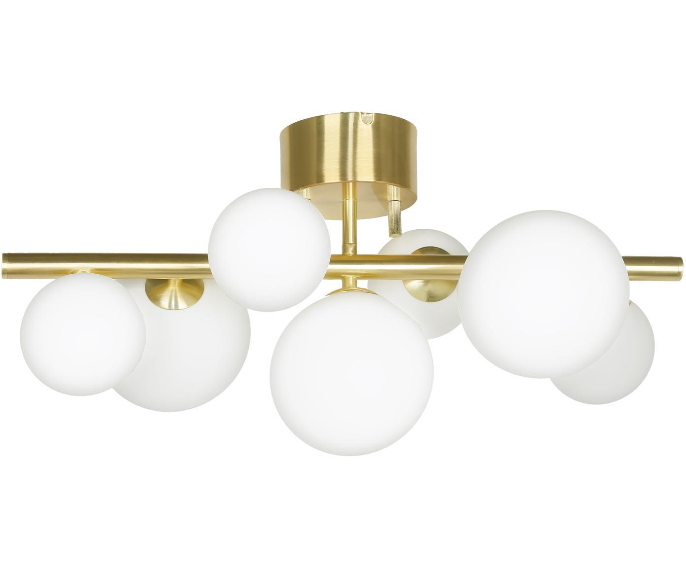 Plafondlamp Molekyl, Messing, opaalglas, Messingkleurig, opaalwit, 58 x 30 cm