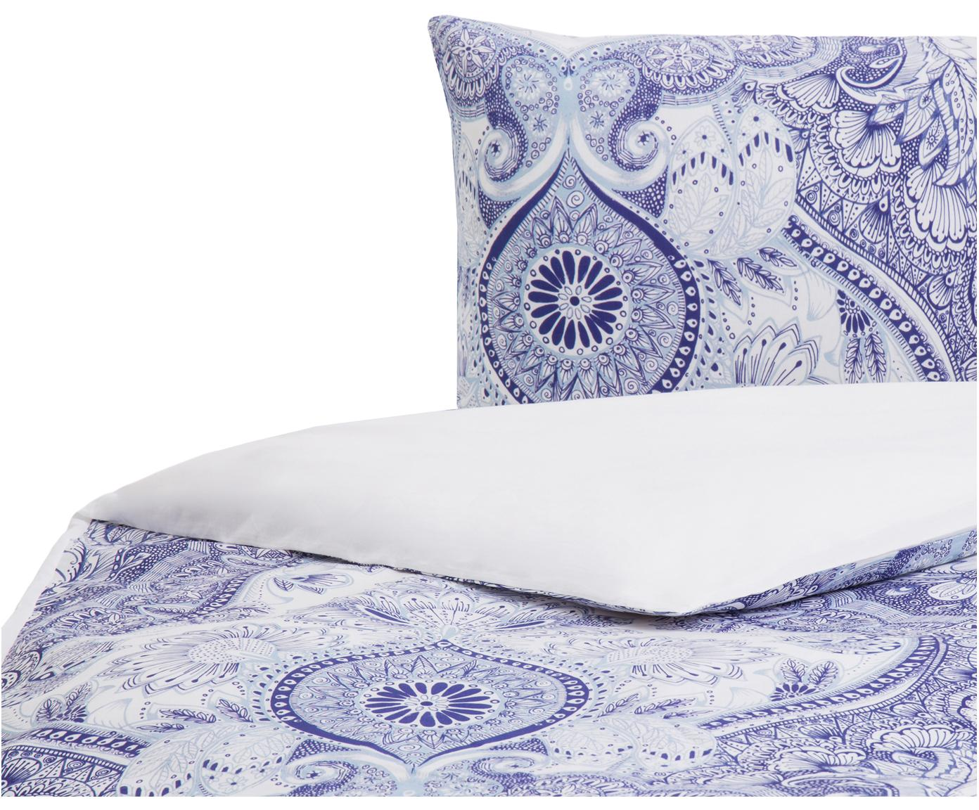 Parure copripiumino in cotone Lato, Cotone, Fronte: tonalità blu, bianco, retro: bianco, 155 x 200 cm