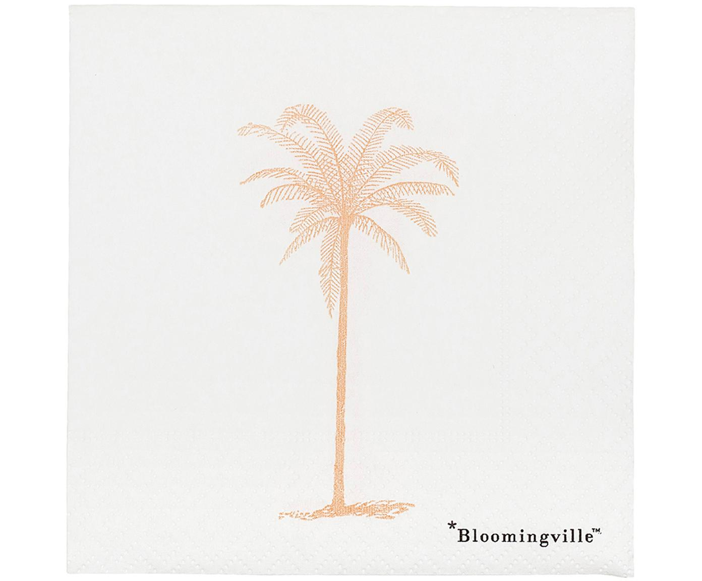 Papieren servetten Palm, 20 stuks, Papier, Wit, goudkleurig, 25 x 25 cm