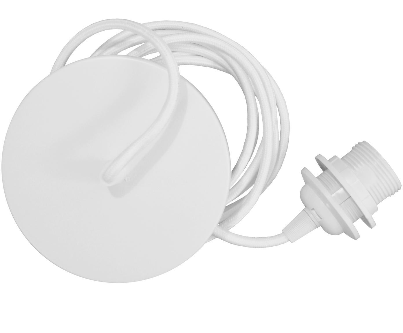 Cable con zócalo Umage, Anclaje: aluminio, Cable: tela, Blanco, Ø 14 x Al 3 cm