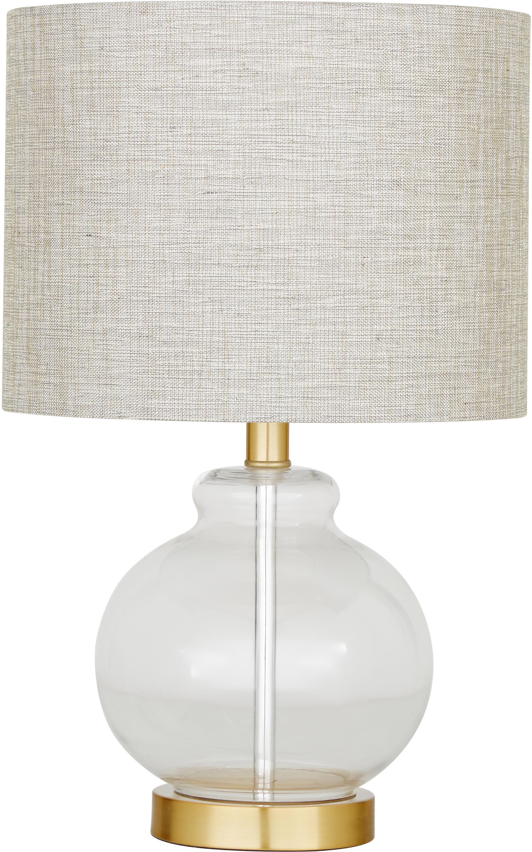Tafellamp Natty, Lampenkap: textiel, Lampvoet: glas, geborsteld messing, Taupe, transparant, Ø 31 x H 48 cm