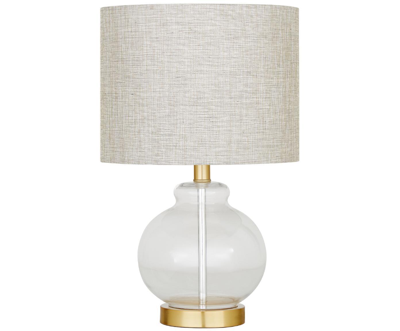 Tischleuchte Natty mit Glasfuß, Lampenschirm: Textil, Lampenfuß: Glas, Messing, gebürstet, Taupe, Transparent, Ø 31 x H 48 cm