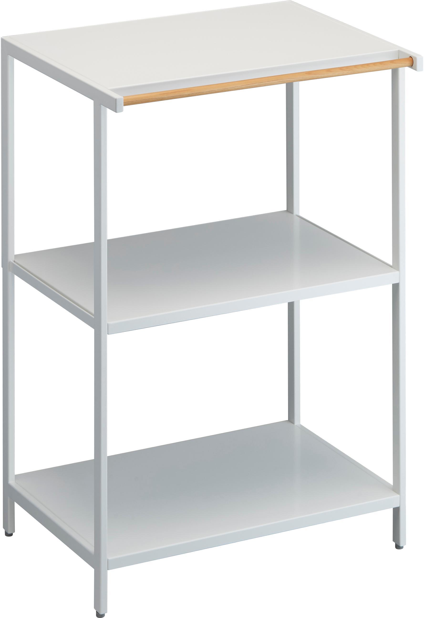 Estantería pequeña de metal Killy, Estantería: metal con pintura en polv, Asa: madera, Blanco, An 60 x F 90 cm