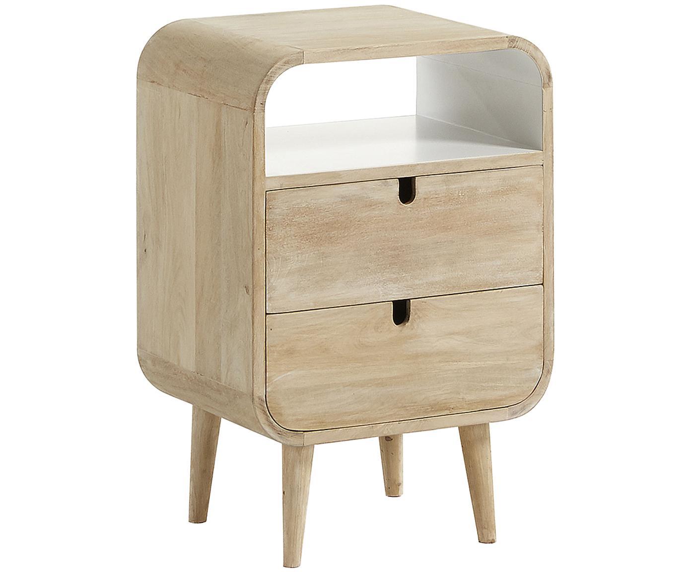 Nachttisch Georg mit Schublade, Außenflächen: Mangoholz, Innenflächen: Weiß, matt, 40 x 61 cm