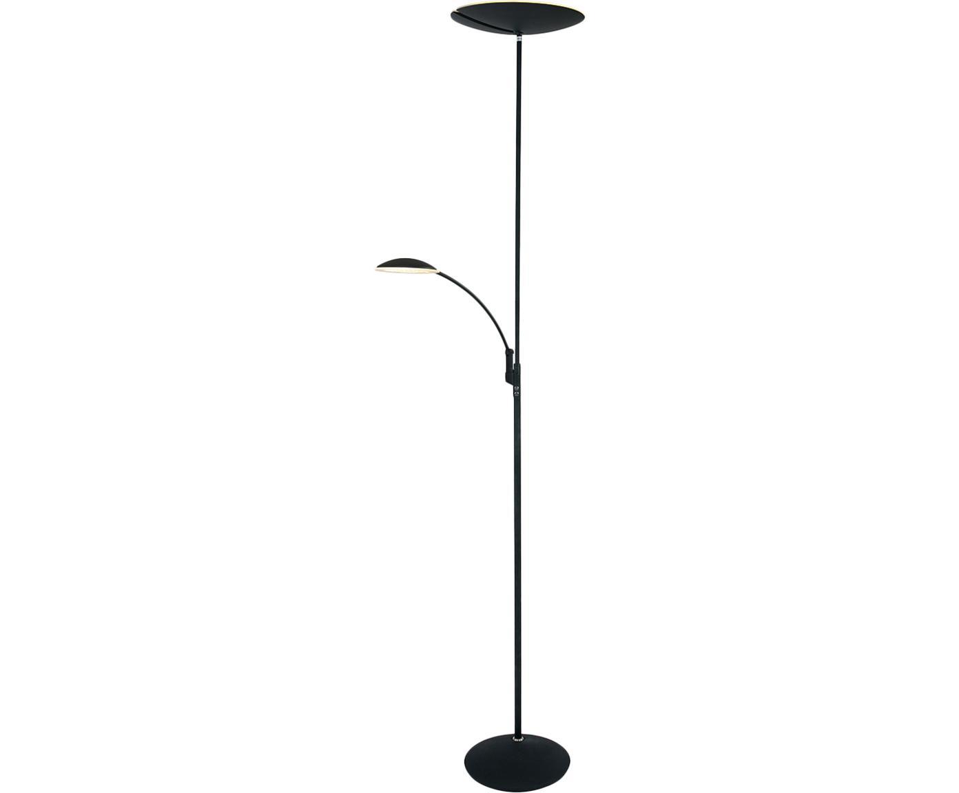 Dimmbarer LED-Deckenfluter Mees mit Leselampe, Lampenschirm: Aluminium, lackiert, Lampenfuß: Aluminium, lackiert, Schwarz, Ø 38 x H 180 cm