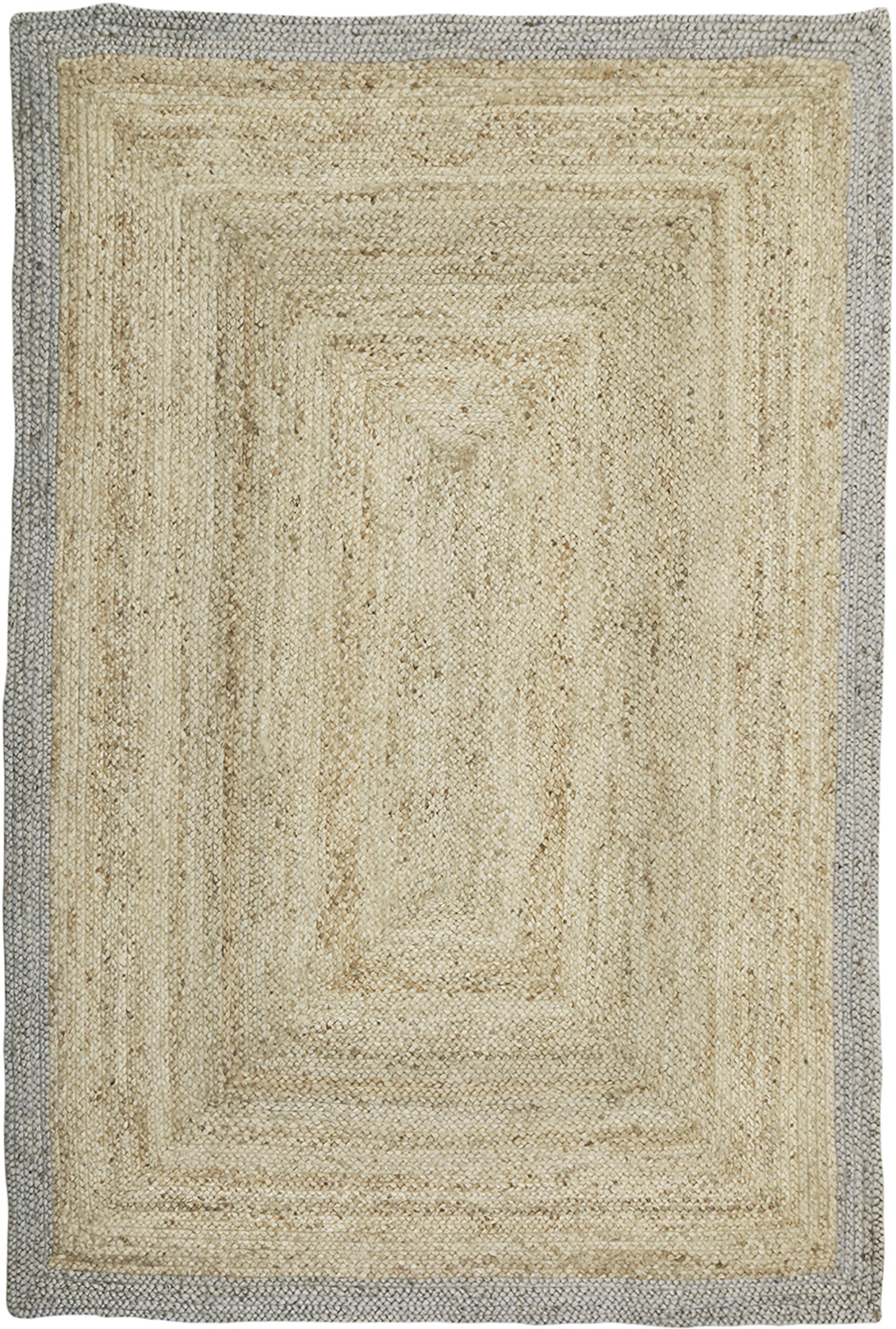 Handgefertigter Jute-Teppich Shanta mit grauem Rand, Beige, Grau, B 160 x L 230 cm (Grösse M)