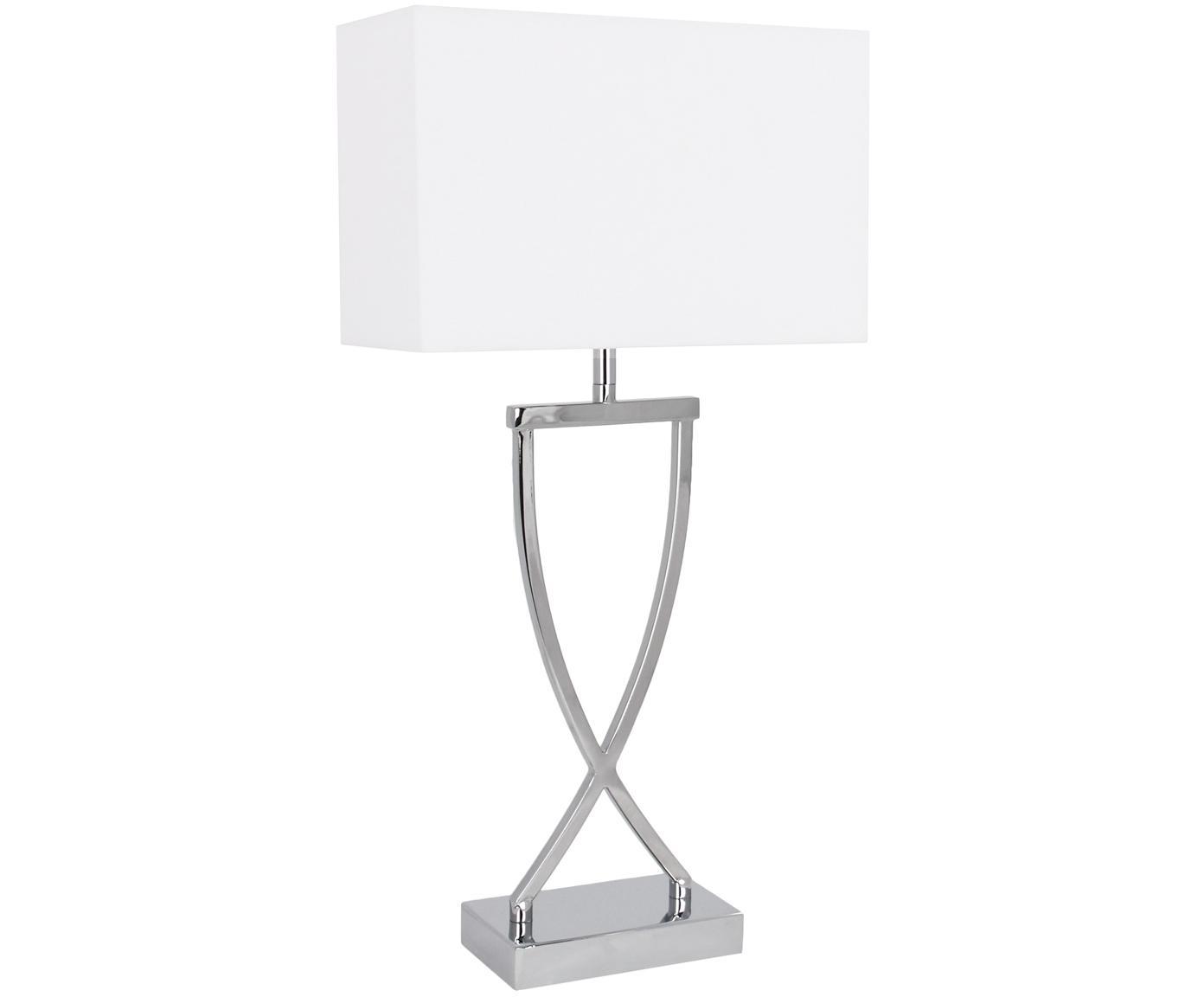 Klassische Tischleuchte Vanessa, Lampenfuß: Metall, Lampenschirm: Textil, Lampenfuß: Chrom, Lampenschirm: Weiß, Kabel: Weiß, 27 x 52 cm