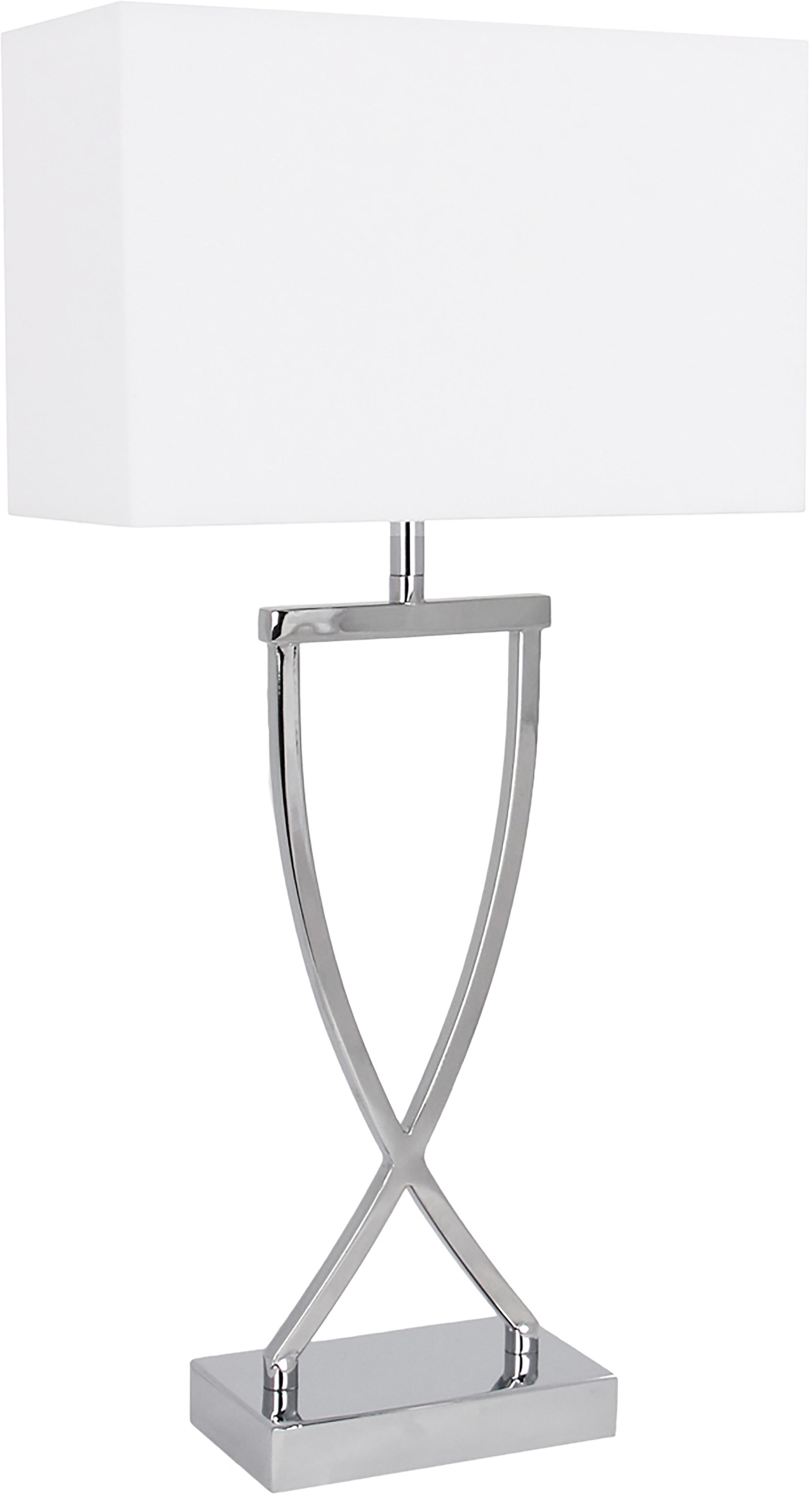 Klassische Tischlampe Vanessa, Lampenfuß: Metall, Lampenschirm: Textil, Lampenfuß: Chrom, Lampenschirm: Weiß, Kabel: Weiß, 27 x 52 cm