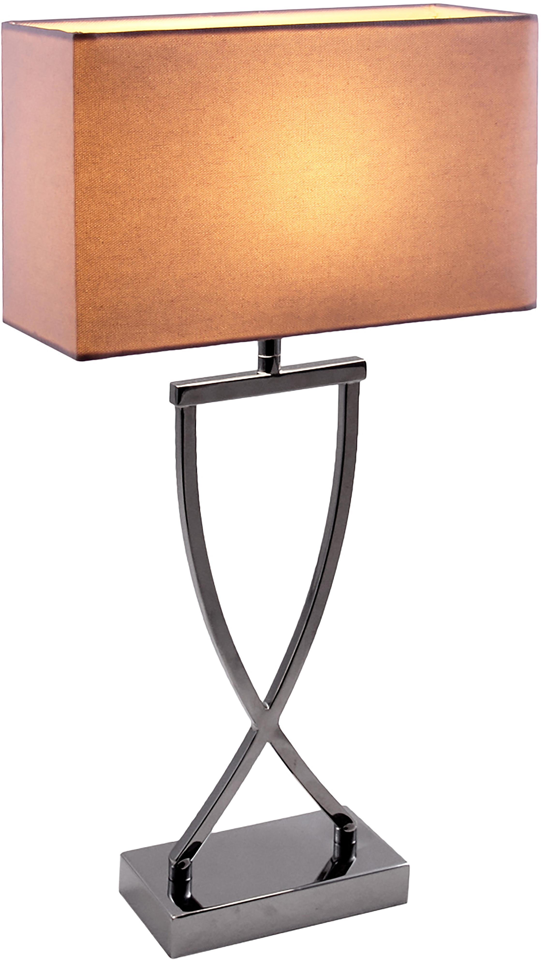 Lampe à poser chromée Vanessa, Pied de lampe: chrome, Abat-jour: blanc, Câble: blanc