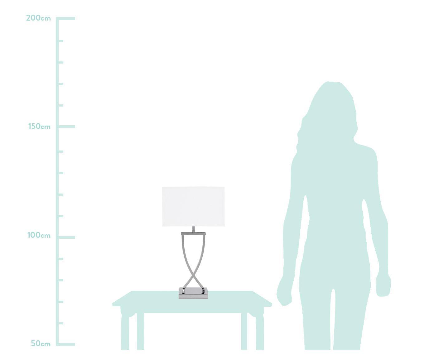Tafellamp Vanessa, Lampvoet: metaal, Lampenkap: textiel, Lampvoet: chroomkleurig. Lampenkap: wit. Snoer: wit, 27 x 52 cm