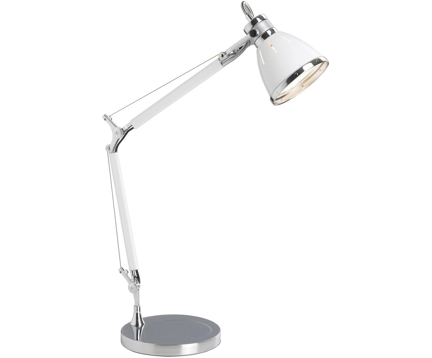 Tafellamp Octavia, Metaal, Wit, chroomkleurig, 21 x 50 cm