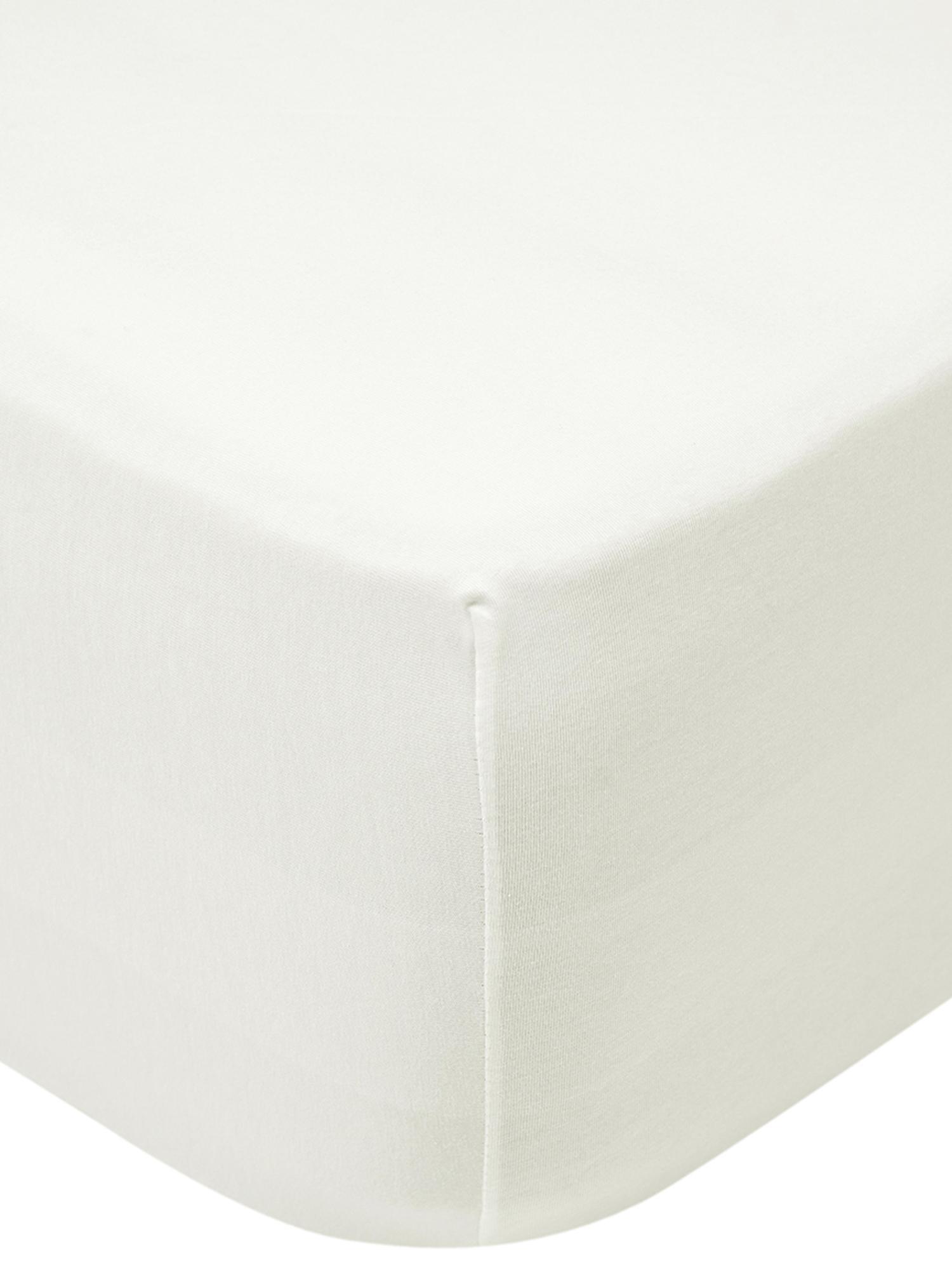 Spannbettlaken Lara, Jersey-Elasthan, 95% Baumwolle, 5% Elasthan, Cremefarben, 180 x 200 cm