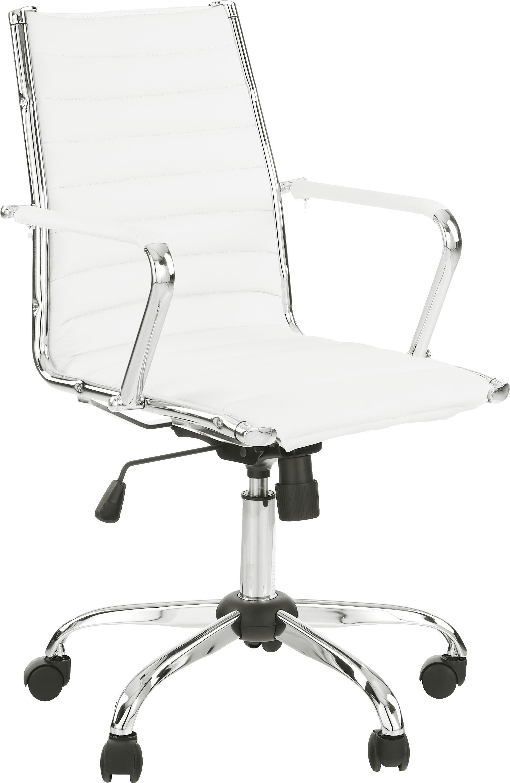 Biurowe krzesło obrotowe ze sztucznej skóry Amstyle, Tapicerka: sztuczna skóra, Stelaż: metal chromowany, Biały, chrom, S 60 x G 57 cm