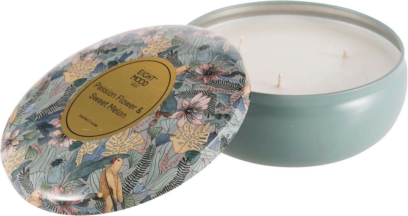Vela perfumada de tres mechas Luciana (limón, naranja y melón dulce), Recipiente: metal, Azul, multicolor, Ø 8 x Al 5 cm