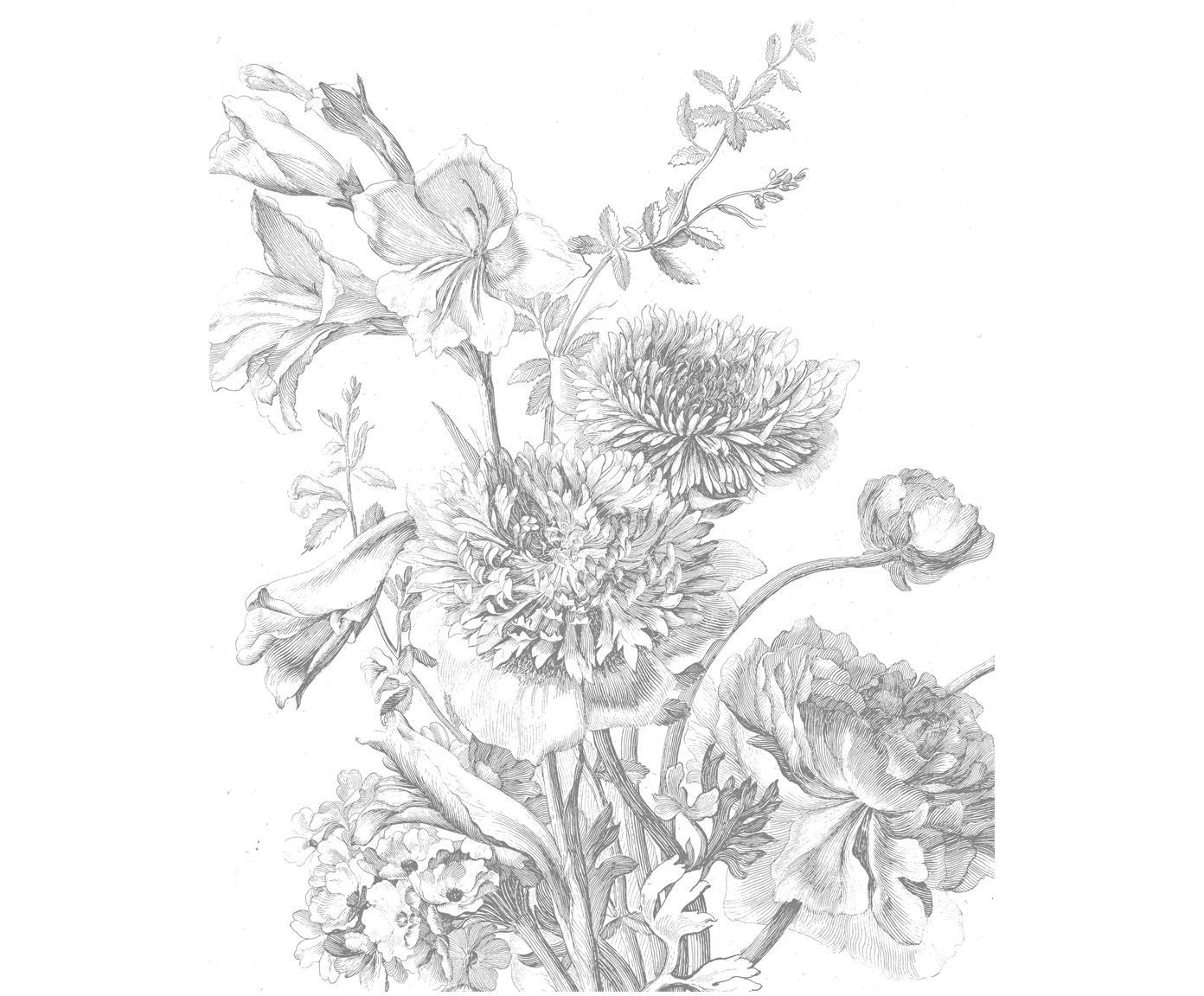 Carta da parati Engraved Flowers, Vello opaco, ecologica e biodegradabile, Grigio, bianco, Larg. 142 x Alt. 180 cm