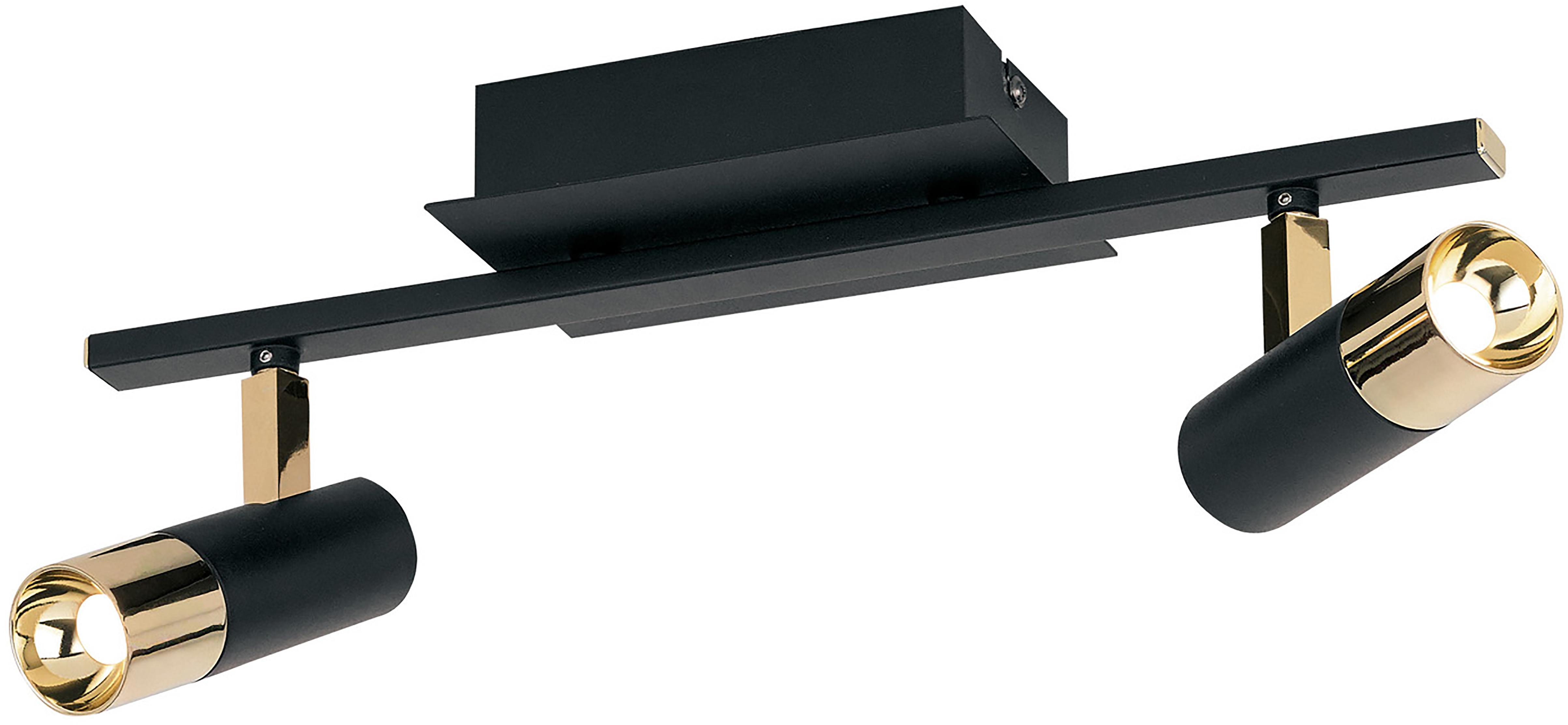 Faretti da soffitto a LED Bobby, Baldacchino: metallo verniciato a polv, Paralume: metallo, Nero, dorato, Larg. 39 x Alt. 18 cm