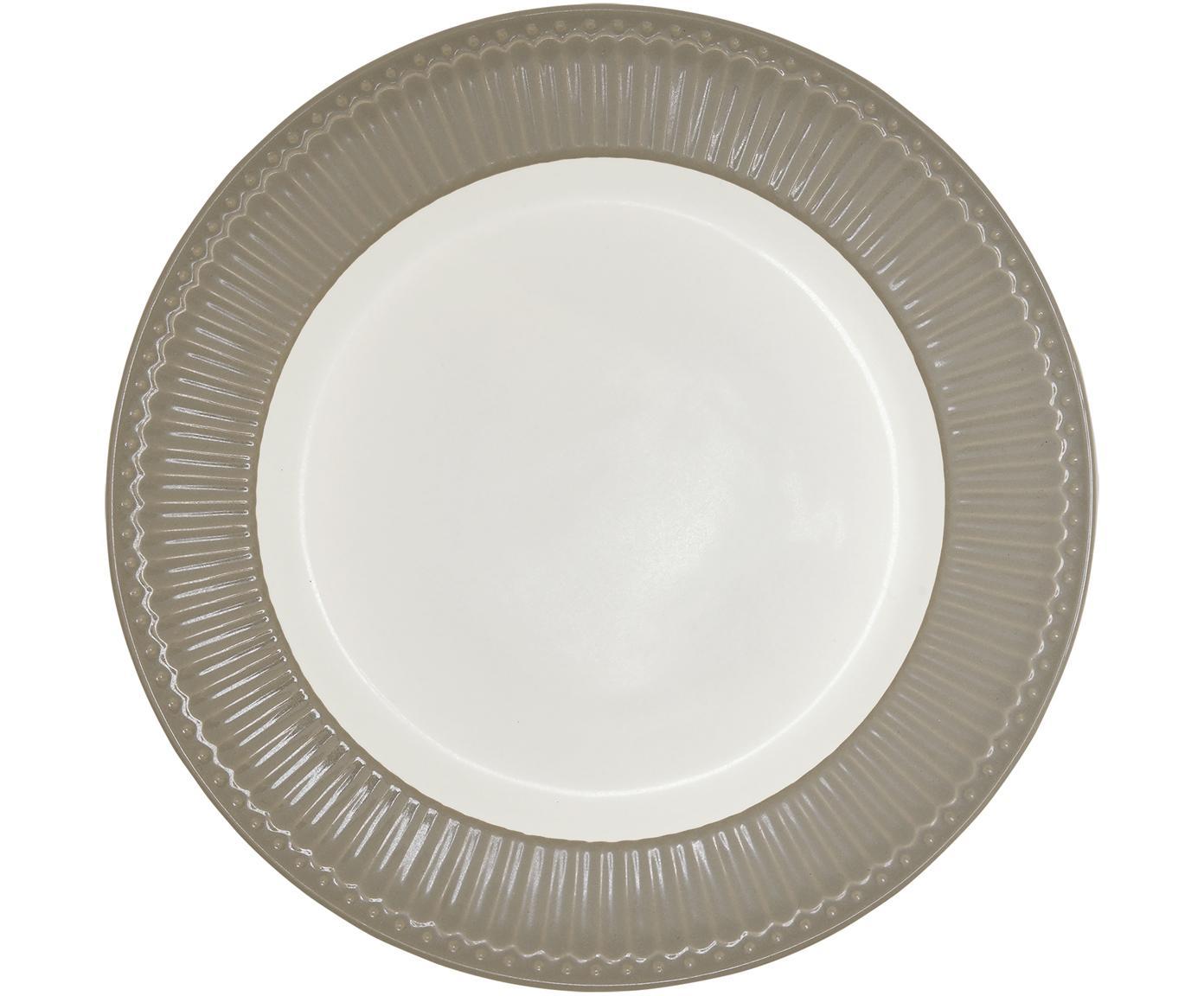 Speiseteller Alice in Grau mit Reliefdesign, 2 Stück, Porzellan, Grau, Weiß, Ø 27 cm