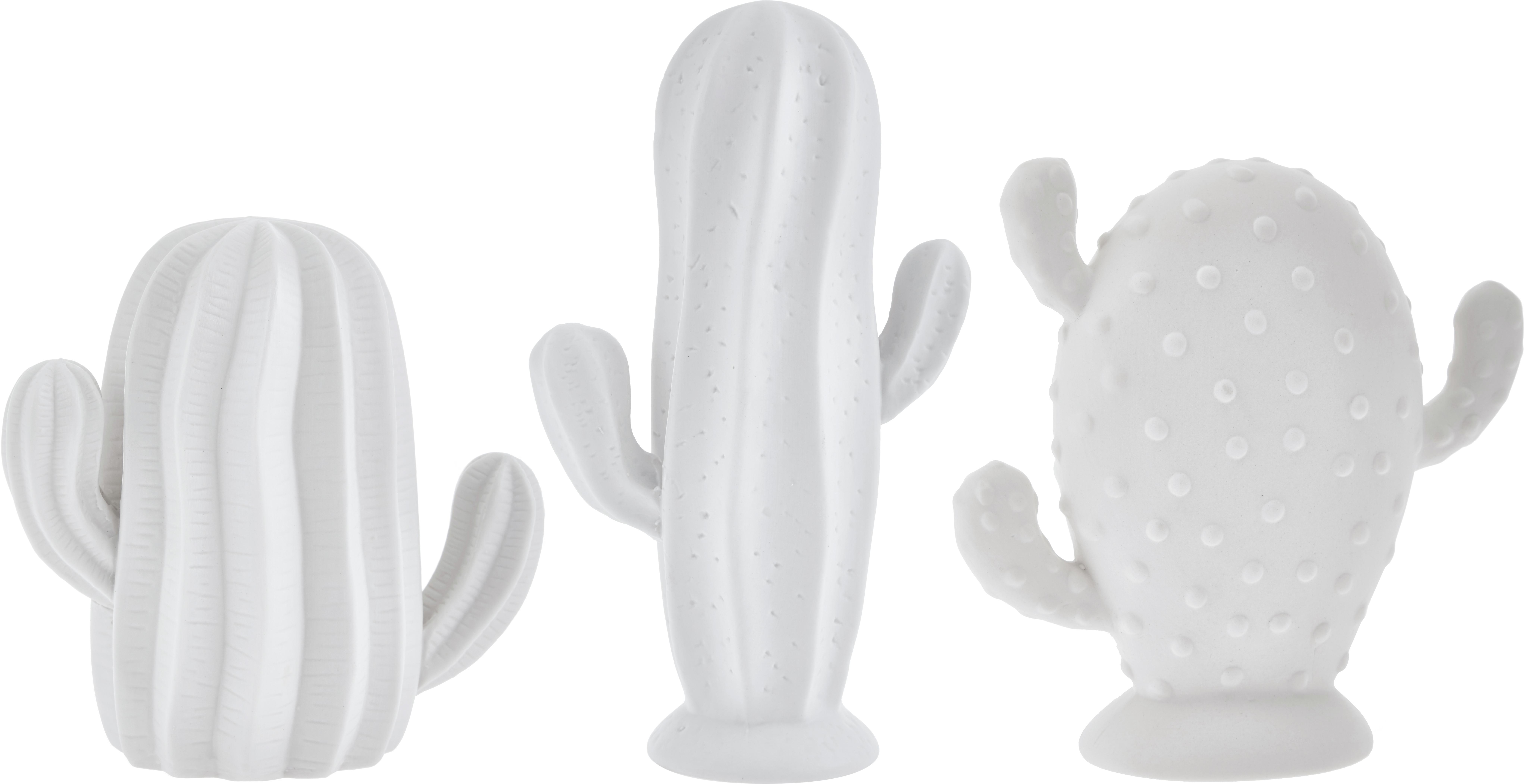 Set de cactus decorativos Dina, 3pzas., Porcelana, sin tratar, mate, Blanco, Set de diferentes tamaños