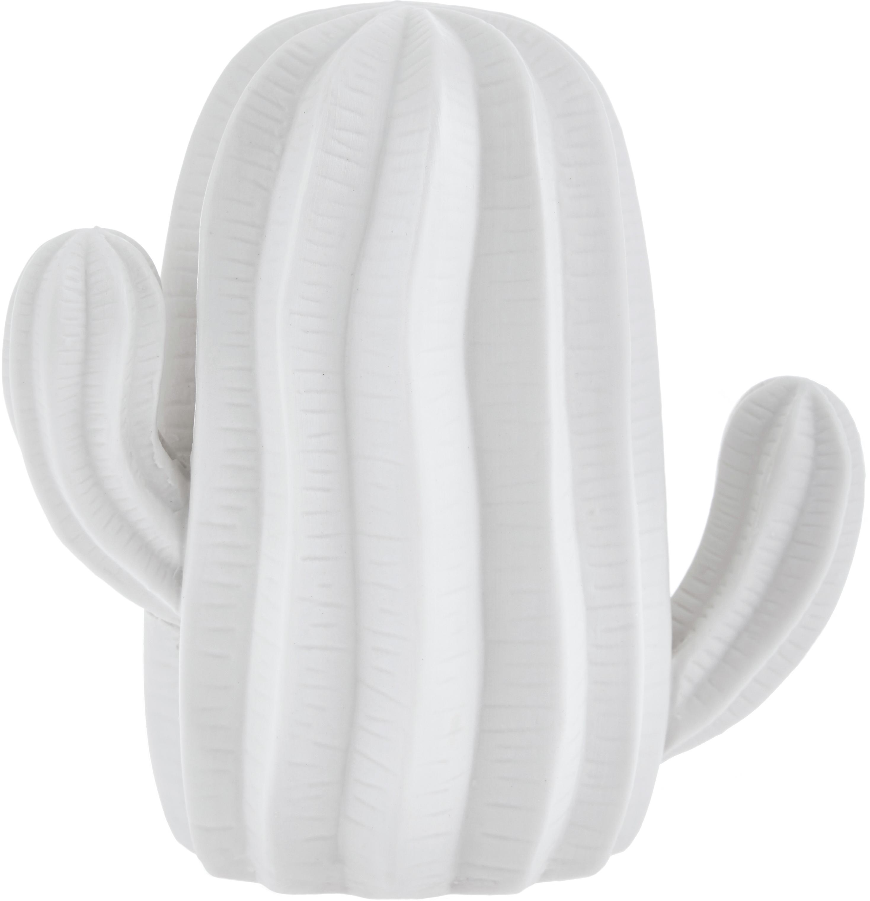 Deko-Kakteen-Set Dina, 3-tlg., Porzellan, unbehandelt, matt, Weiß, Sondergrößen