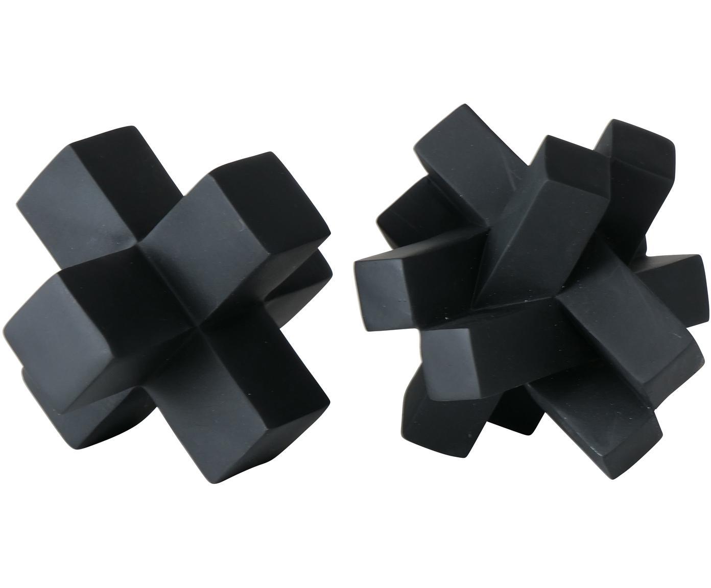 Deko-Objekte-Set Crossy, 2-tlg., Kunststoff, Schwarz, 10 x 10 cm