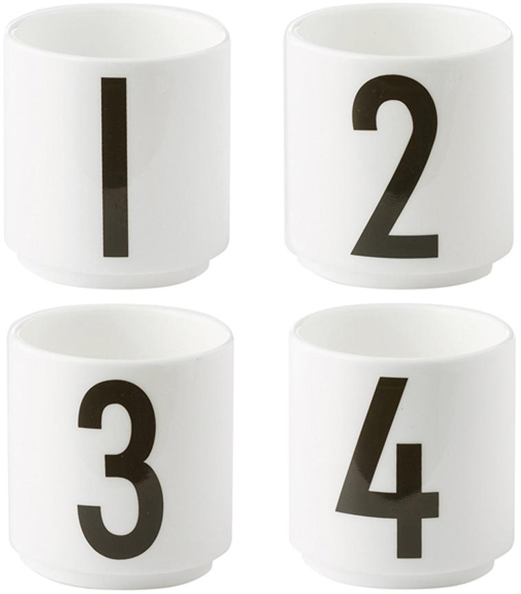 Set de tazas de diseño 1234, 4pzas., Porcelana fina de hueso (porcelana) Fine Bone China es una pasta de porcelana fosfática que se caracteriza por su brillo radiante y translúcido., Blanco, negro, Ø 5 x Al 6 cm