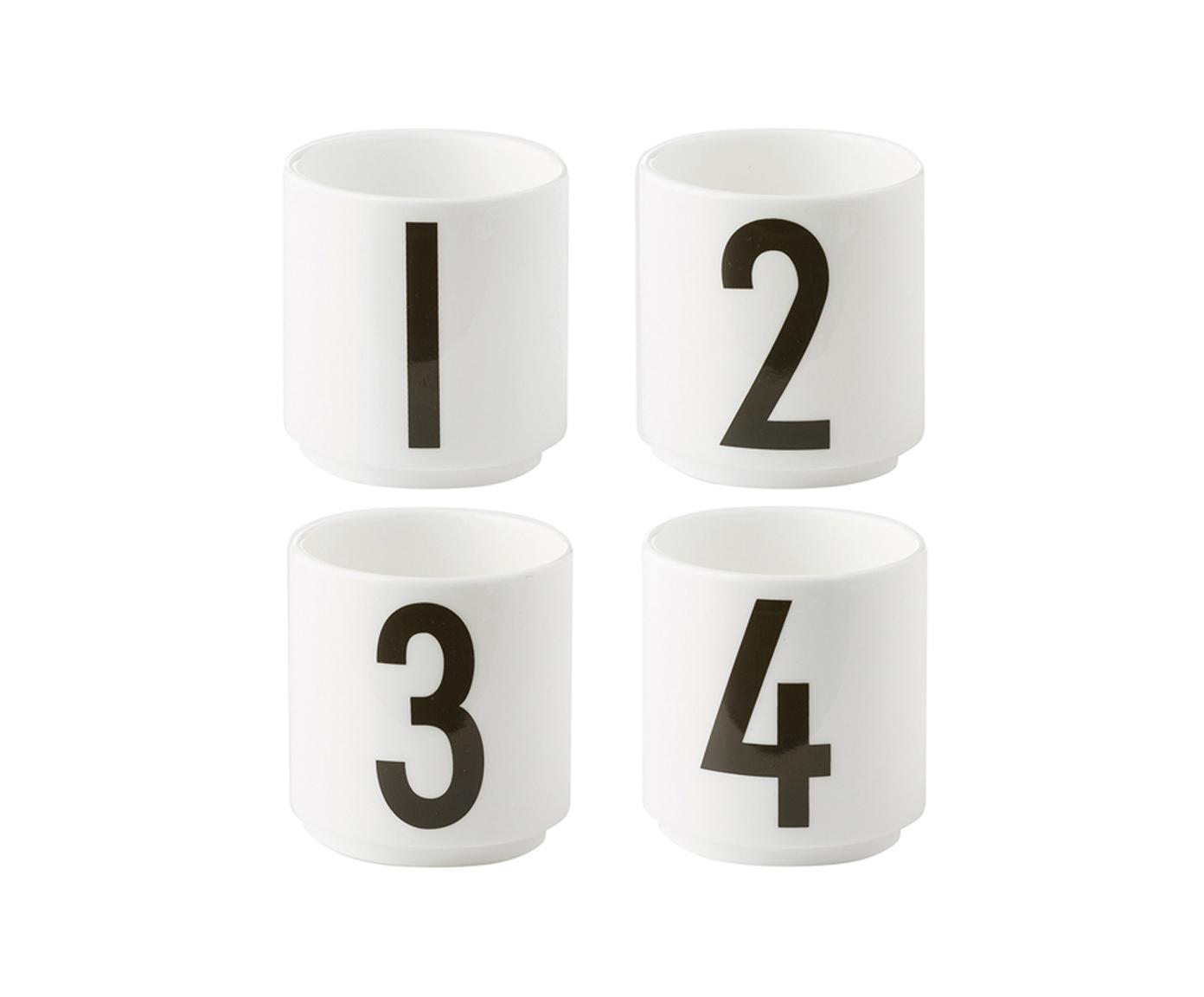 Design Espressobecher 1234 mit Zahlen, 4er-Set, Fine Bone China, Weiß, Schwarz, Ø 5 x H 6 cm