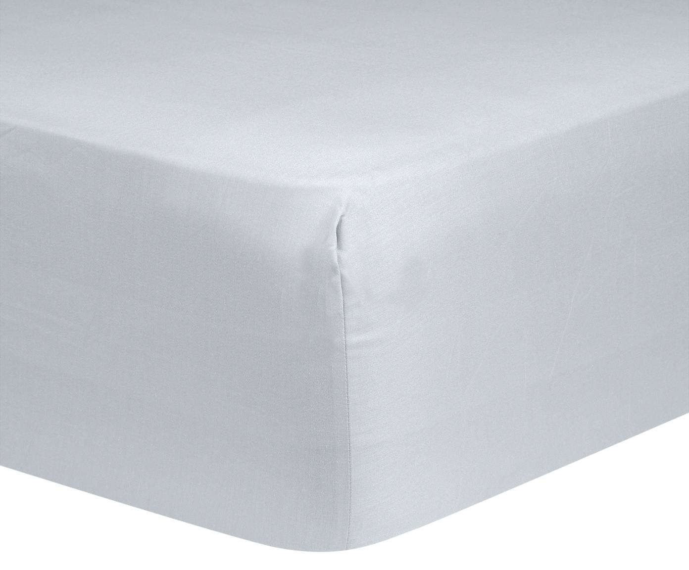 Prześcieradło z gumką na łóżko kontynentalne z satyny bawełnianej Comfort, Jasny szary, S 180 x D 200 cm
