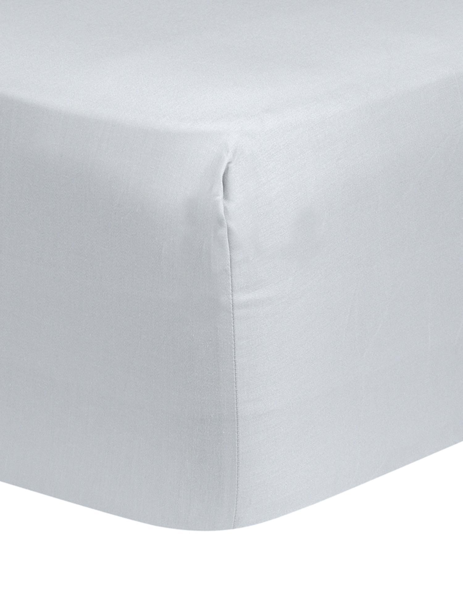 Boxspring-Spannbettlaken Comfort, Baumwollsatin, Webart: Satin, leicht glänzend, Hellgrau, 140 x 200 cm