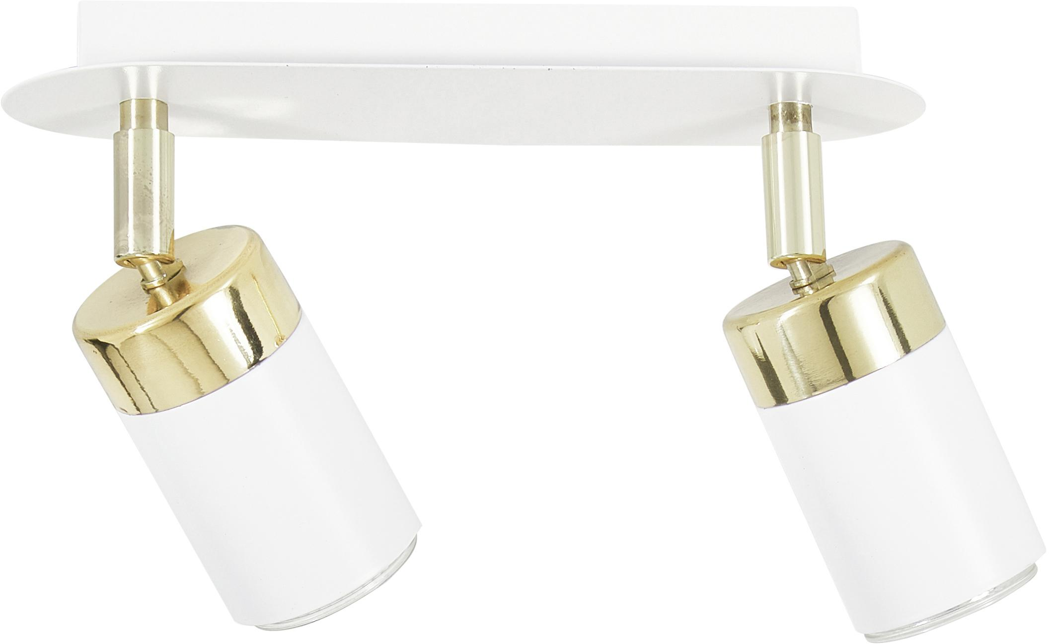Plafondspot Joker in wit, Lampenkap: gelakt metaal, Wit, messingkleurig, 36 x 13 cm