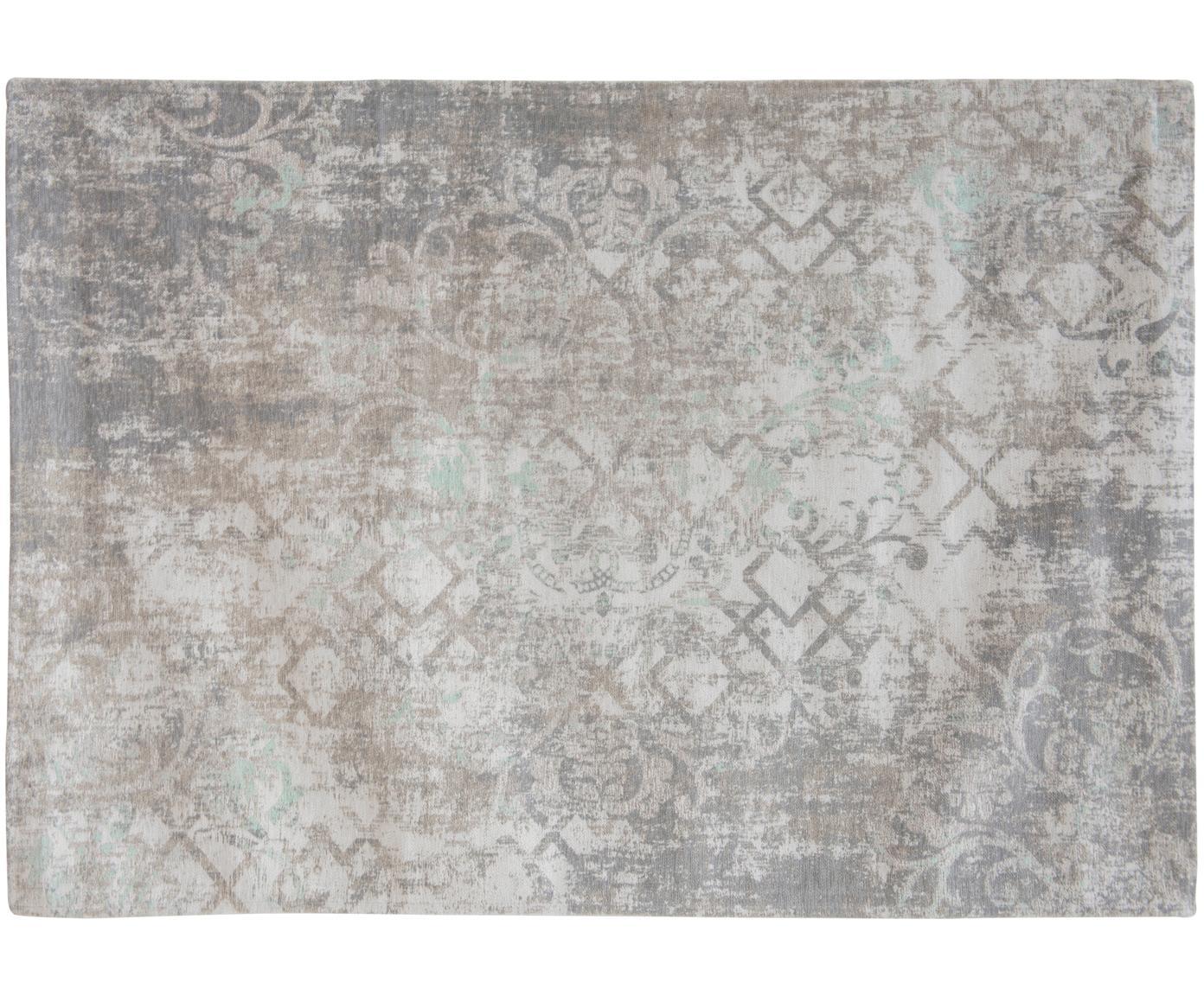 Vintage chenille vloerkleed Babylon in Grijsbeige, Bovenzijde: chenille (katoen), Weeftechniek: jacquard, Onderzijde: chenille, gecoat met late, Grijs, beige, 140 x 200 cm