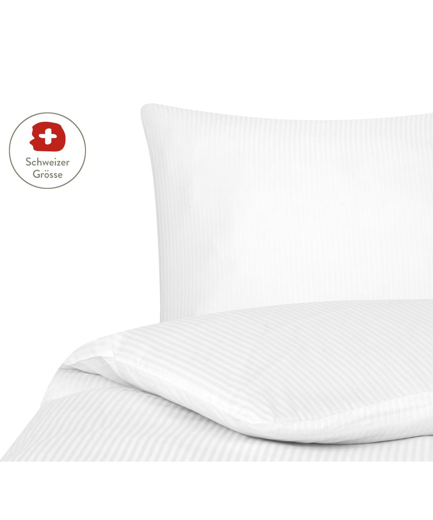 Satinstreifen-Bettdeckenbezug Stella in Weiss, Webart: Satin Fadendichte 250 TC,, Weiss, 160 x 210 cm