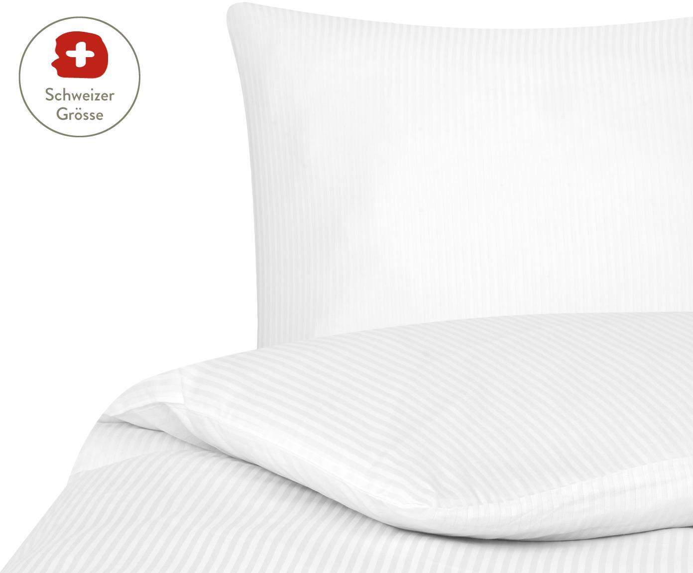Satinstreifen-Bettdeckenbezug Stella in Weiss, Webart: Satin Fadendichte 250 TC, Weiss, 160 x 210 cm