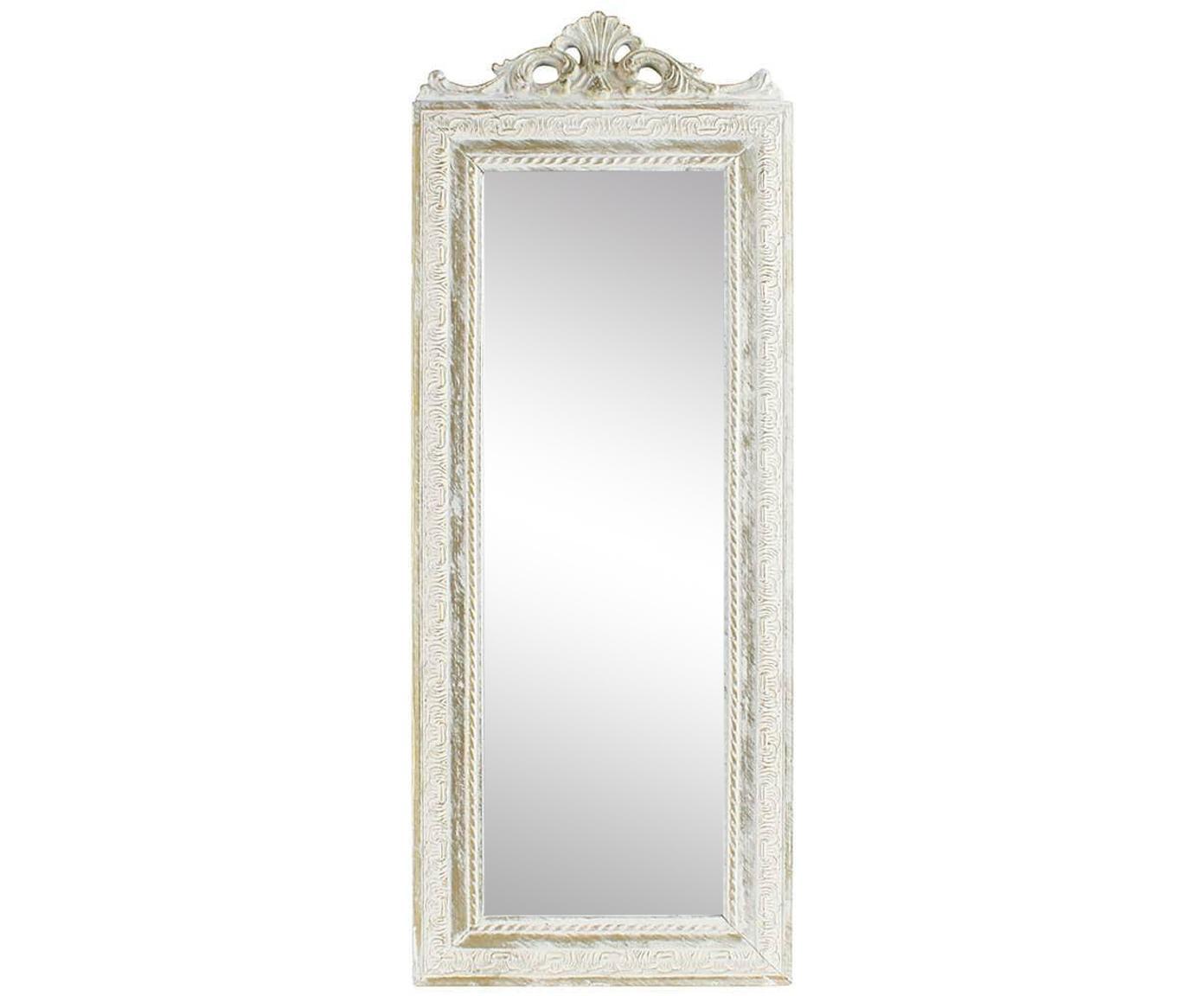 Espejo de pared Resi, Poliresina, espejo de cristal, Latón, marfil, An 35 x Al 90 cm
