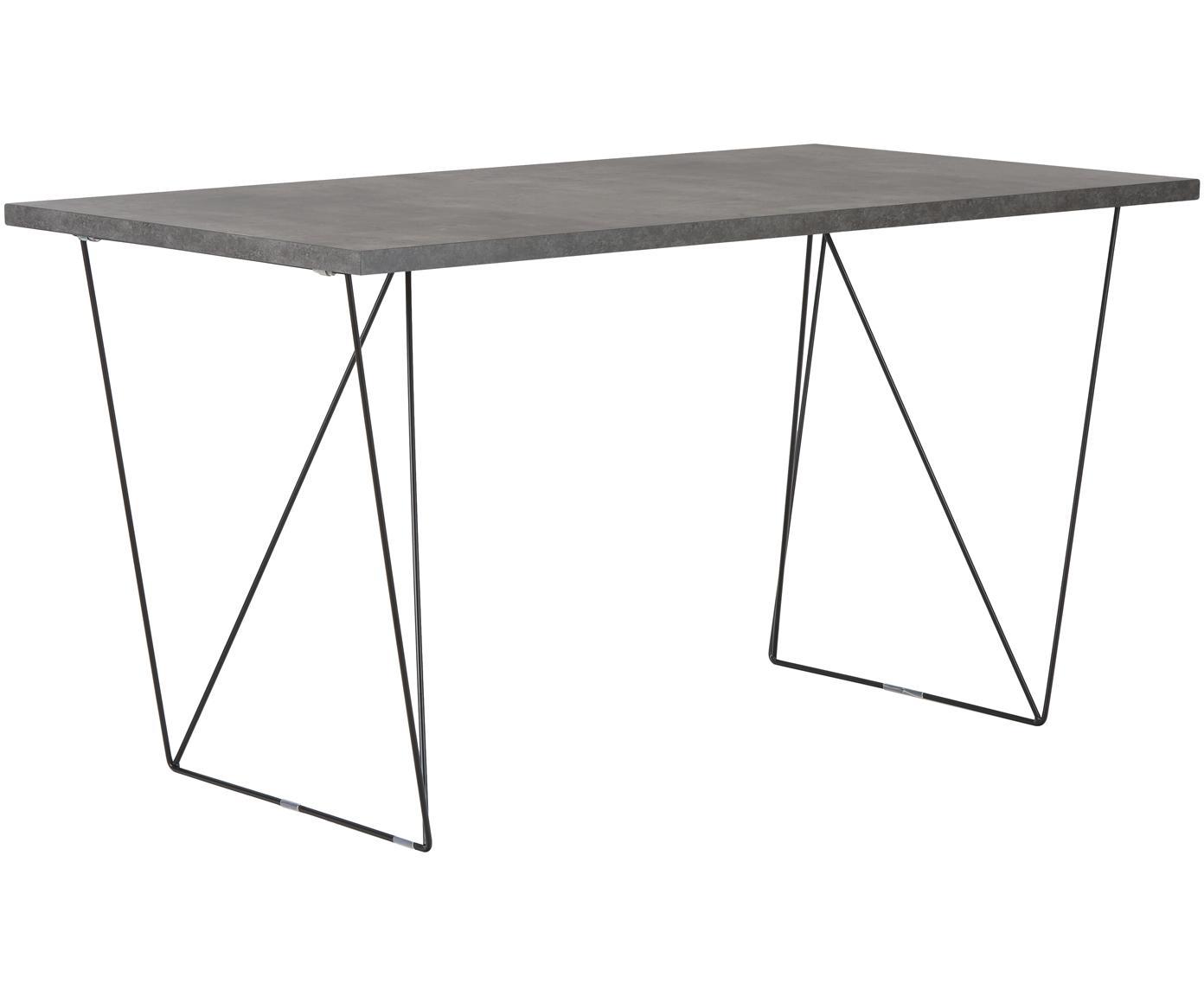 Schreibtisch Max mit Trestle Beinen, Tischplatte: Spanplatte in Leichtbau-W, Beine: Metall, lackiert, Grau, B 140 x T 75 cm