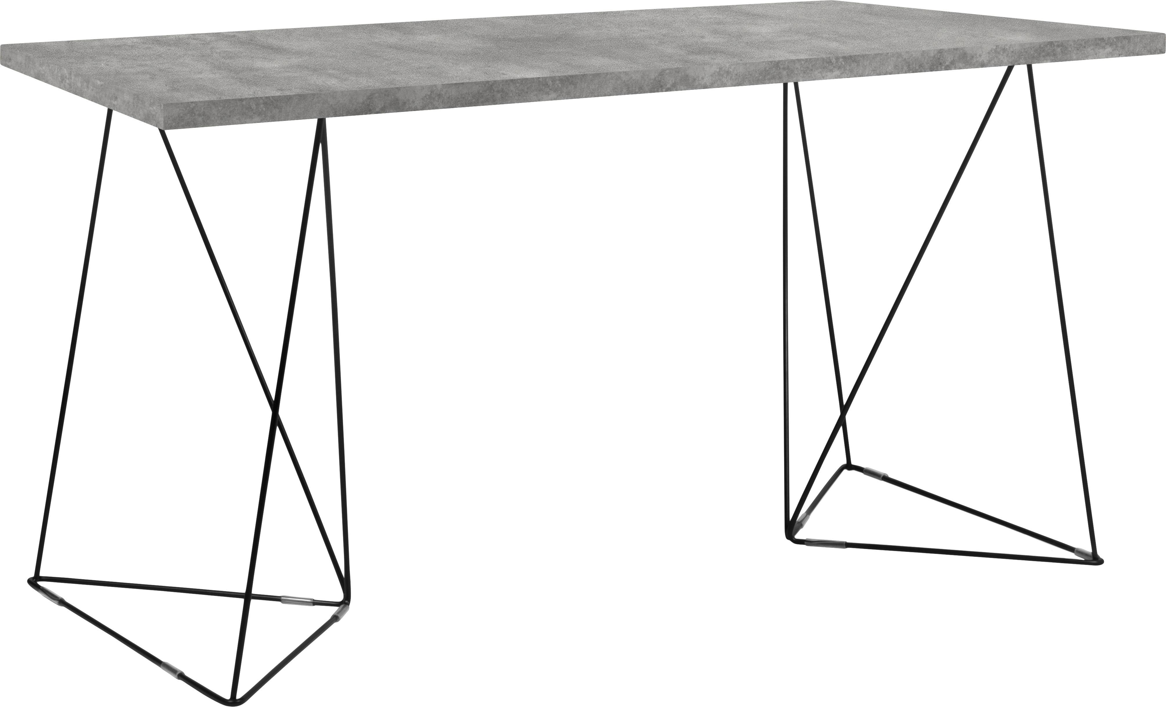 Bureau Max met schraagpoten, Tafelblad: spaanplaat in lichtbouw w, Poten: gelakt metaal, Grijs, B 140 x D 75 cm