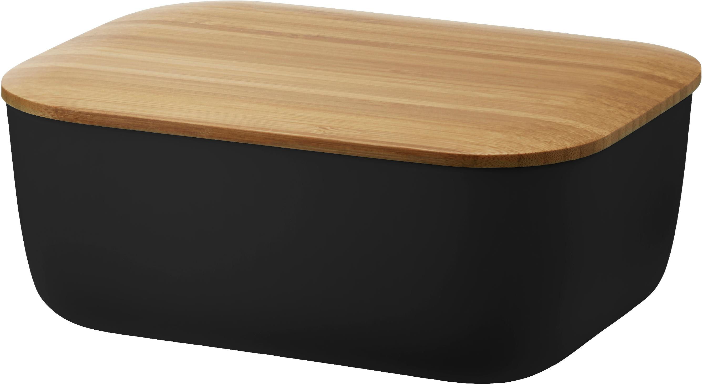 Burriera Box-It, Contenitore: melamina, Coperchio: bambù, Nero, opaco, bambù, Larg. 15 x Alt. 7 x Prof. 12 cm